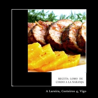 Lomo de cerdo alimentado con castañas a la naranja